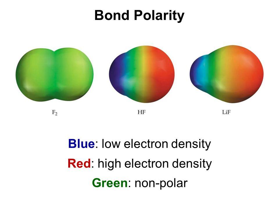 Blue: low electron density Red: high electron density Green: non-polar Bond Polarity