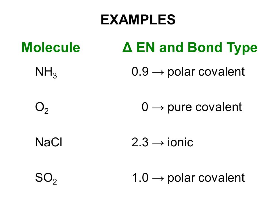 EXAMPLES Molecule NH 3 O2O2 NaCl SO 2 Δ EN and Bond Type 0.9 → polar covalent 0 → pure covalent 2.3 → ionic 1.0 → polar covalent