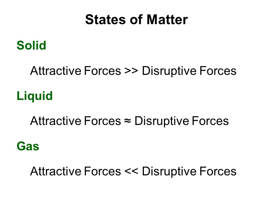 States of Matter Solid Attractive Forces >> Disruptive Forces Liquid Attractive Forces ≈ Disruptive Forces Gas Attractive Forces << Disruptive Forces