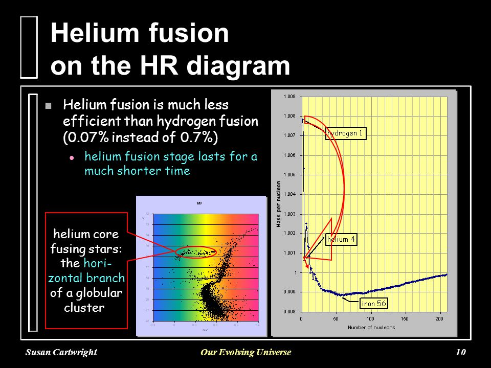 Susan CartwrightOur Evolving Universe10 Helium fusion on the HR diagram n Helium fusion is much less efficient than hydrogen fusion (0.07% instead of 0.7%) l helium fusion stage lasts for a much shorter time helium core fusing stars: the hori- zontal branch of a globular cluster