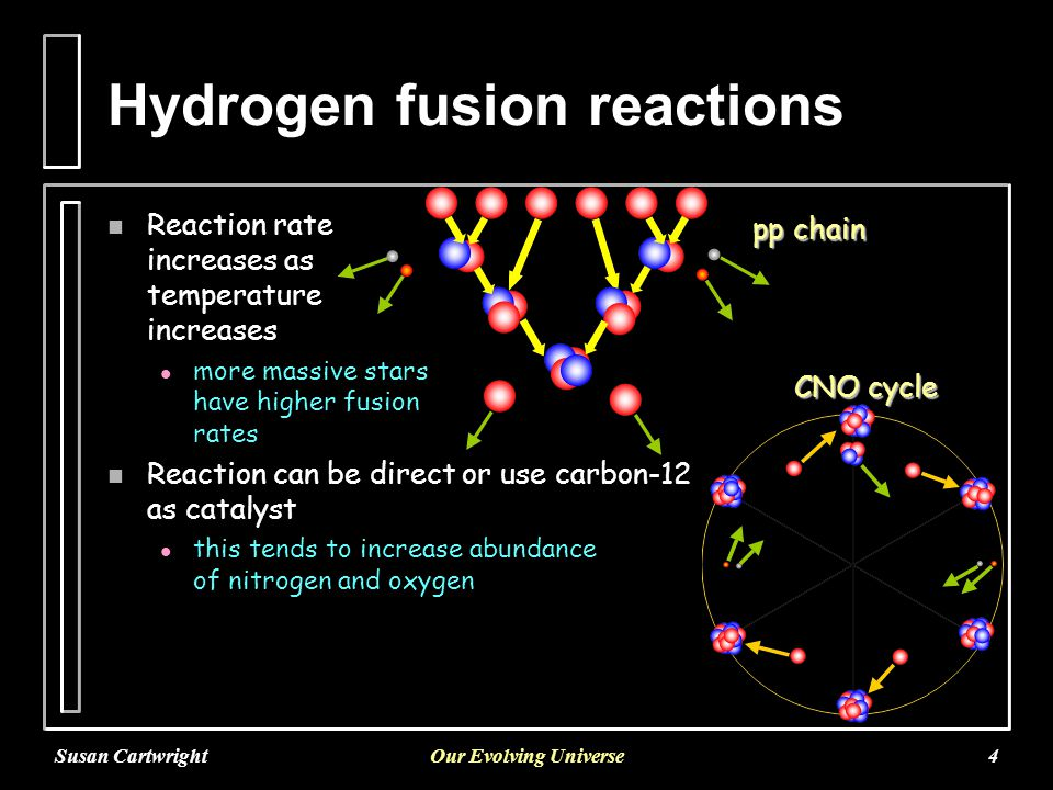 Susan CartwrightOur Evolving Universe4 Hydrogen fusion reactions n Reaction rate increases as temperature increases l more massive stars have higher fusion rates n Reaction can be direct or use carbon-12 as catalyst l this tends to increase abundance of nitrogen and oxygen pp chain CNO cycle