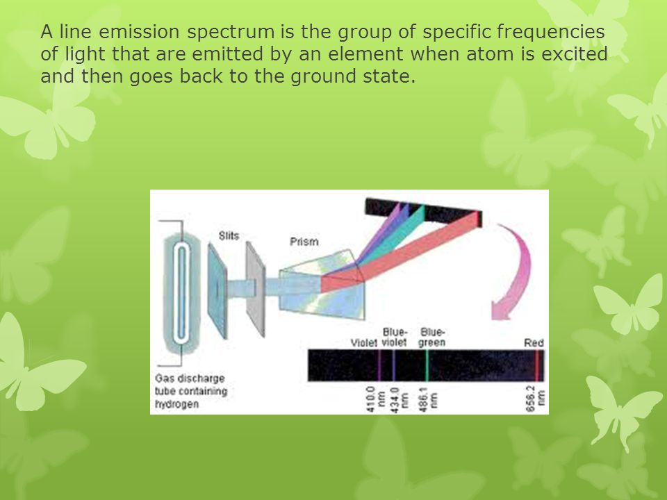 A line emission spectrum is the group of specific frequencies of light that are emitted by an element when atom is excited and then goes back to the g