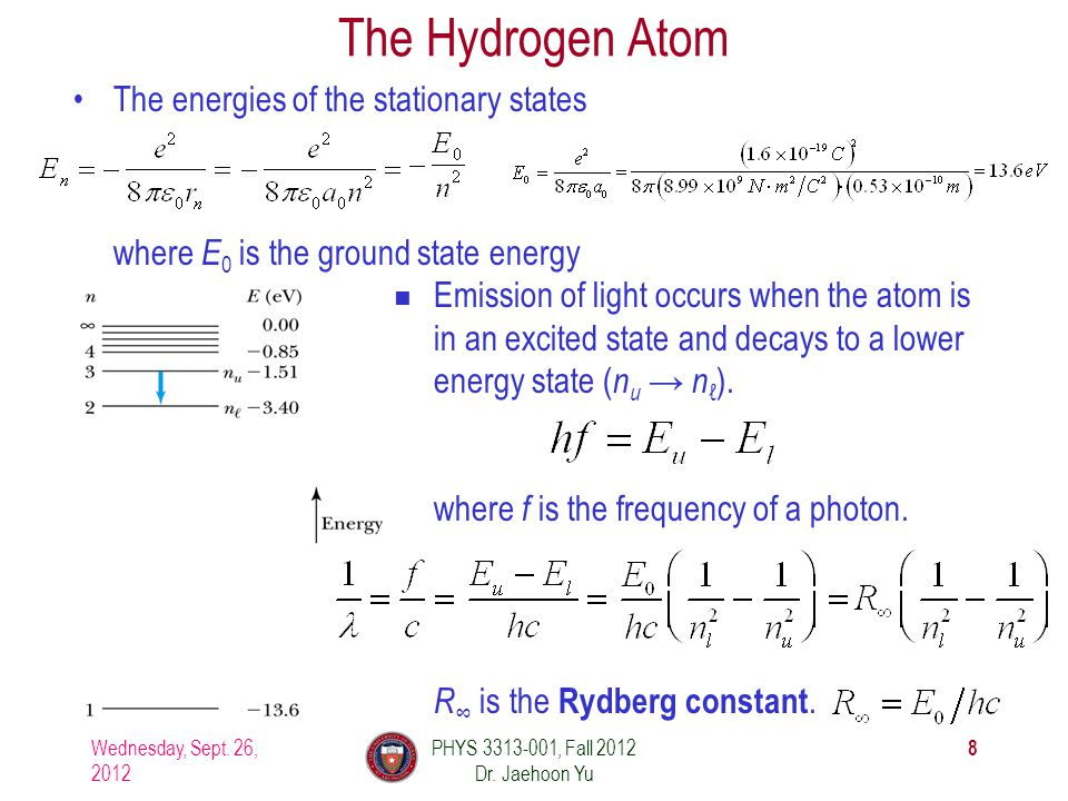 Emission of light occurs when the atom is in an excited state and decays to a lower energy state (nu (nu → n ℓ ).