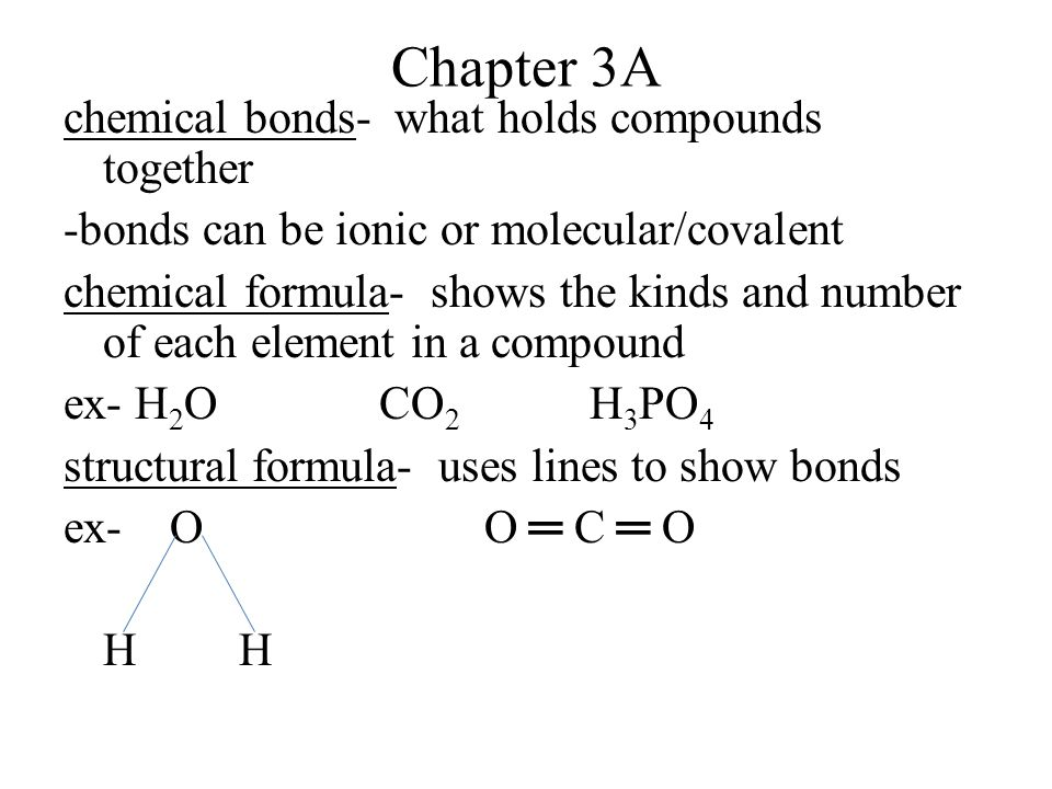 empirical formula- gives the relative number of atoms of each element in a compound -lowest whole number ratio molecular formula- gives the actual number of atoms of each element in a compound ex- hydrogen peroxide H2O2H2O2 emp.