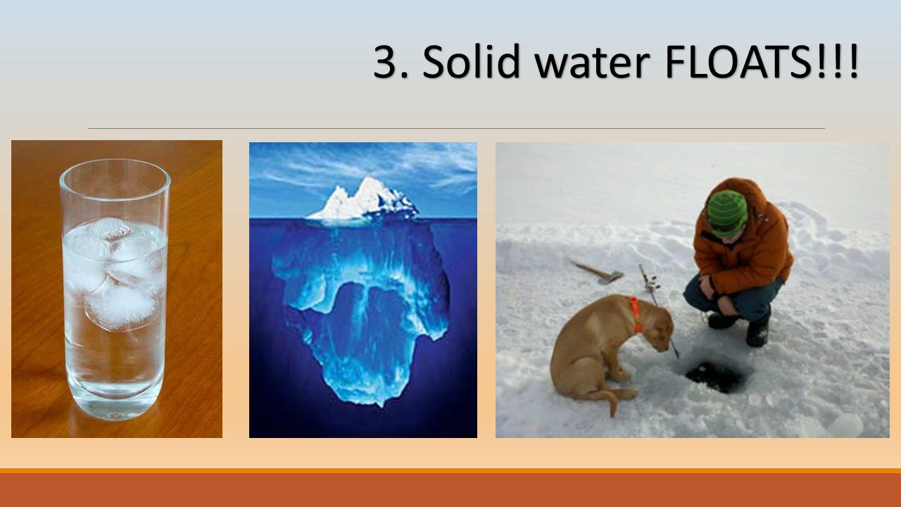 3. Solid water FLOATS!!!