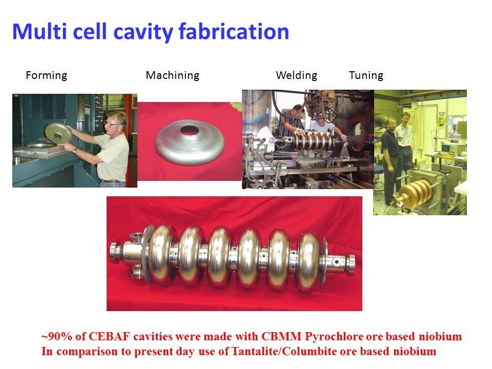 Multi cell cavity fabrication Forming Machining Welding Tuning ~90% of CEBAF cavities were made with CBMM Pyrochlore ore based niobium In comparison to present day use of Tantalite/Columbite ore based niobium