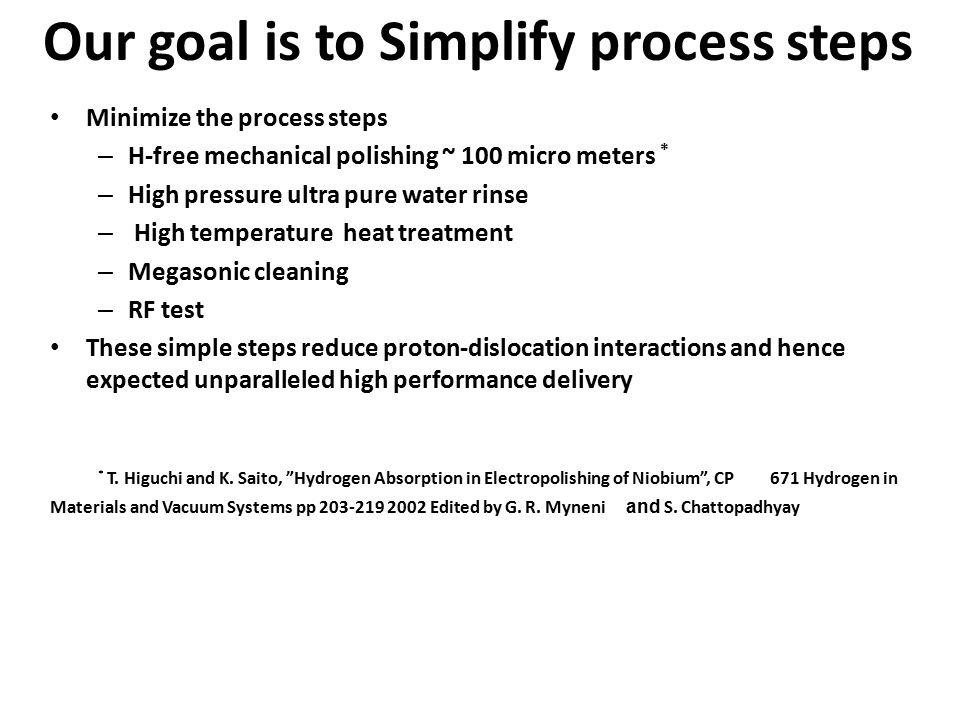 Our goal is to Simplify process steps Minimize the process steps – H-free mechanical polishing ~ 100 micro meters * – High pressure ultra pure water rinse – High temperature heat treatment – Megasonic cleaning – RF test These simple steps reduce proton-dislocation interactions and hence expected unparalleled high performance delivery * T.