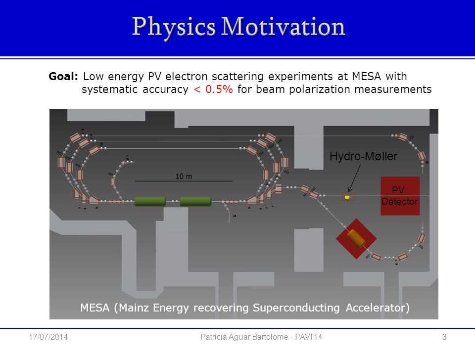 Hydro-Møller PV Detector Goal: Low energy PV electron scattering experiments at MESA with systematic accuracy < 0.5% for beam polarization measurements 3 Patricia Aguar Bartolome - PAVI 14 MESA (Mainz Energy recovering Superconducting Accelerator) 17/07/2014