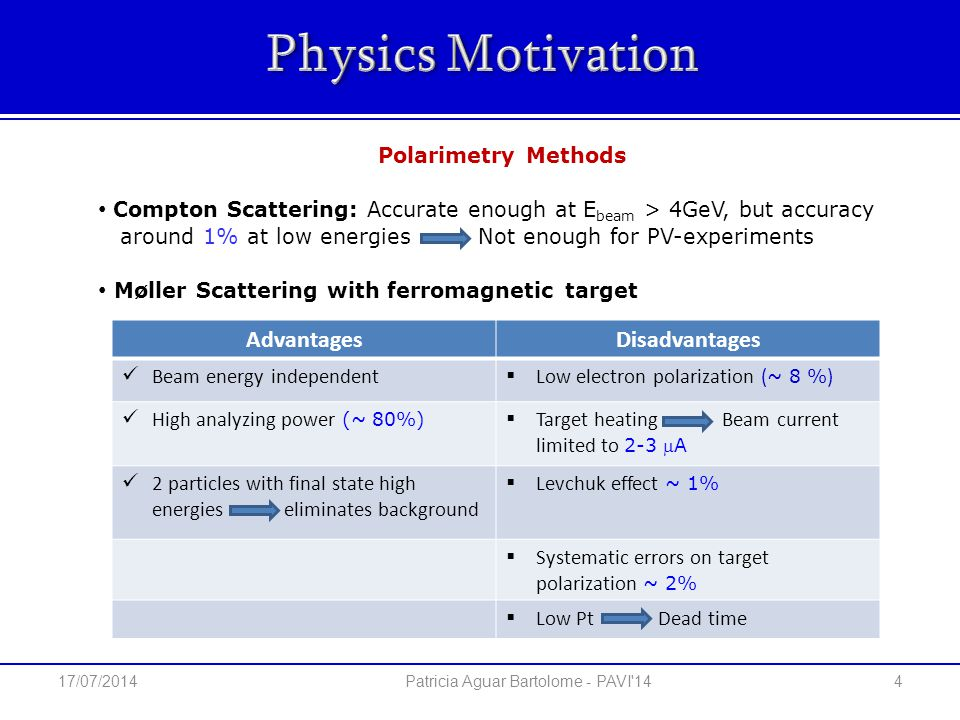 Compton Scattering: Accurate enough at E beam > 4GeV, but accuracy around 1% at low energies Not enough for PV-experiments Møller Scattering with ferromagnetic target Polarimetry Methods 4 Patricia Aguar Bartolome - PAVI 14 AdvantagesDisadvantages Beam energy independent  Low electron polarization ( ~ 8 % ) High analyzing power (~ 80%)  Target heating Beam current limited to 2-3 A 2 particles with final state high energies eliminates background  Levchuk effect ~ 1%  Systematic errors on target polarization ~ 2%  Low Pt Dead time 17/07/2014