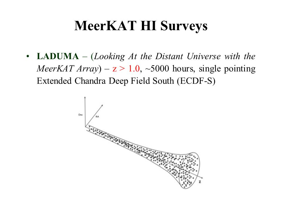 MeerKAT HI Surveys LADUMA – (Looking At the Distant Universe with the MeerKAT Array) – z > 1.0, ~5000 hours, single pointing Extended Chandra Deep Fie