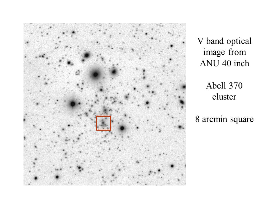 Radio Arc V band optical image from ANU 40 inch Abell 370 cluster 8 arcmin square