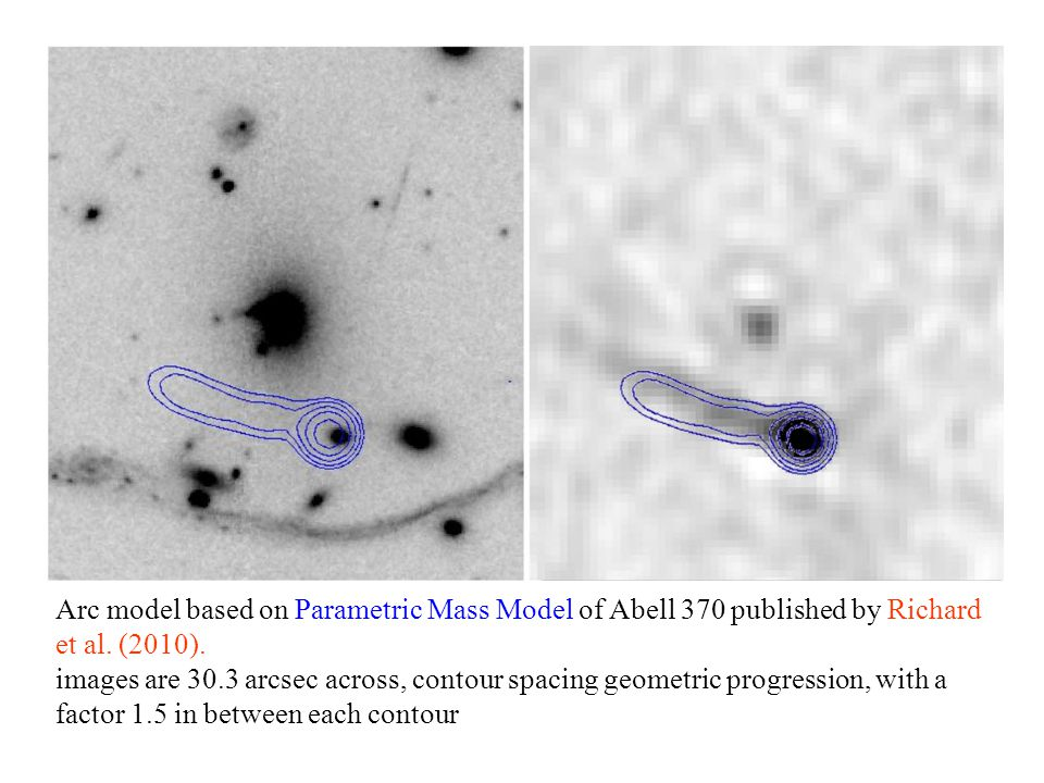 Radio Arc Theory Arc model based on Parametric Mass Model of Abell 370 published by Richard et al. (2010). images are 30.3 arcsec across, contour spac