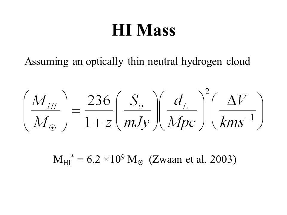 HI Mass Assuming an optically thin neutral hydrogen cloud M HI * = 6.2 ×10 9 M  (Zwaan et al. 2003)
