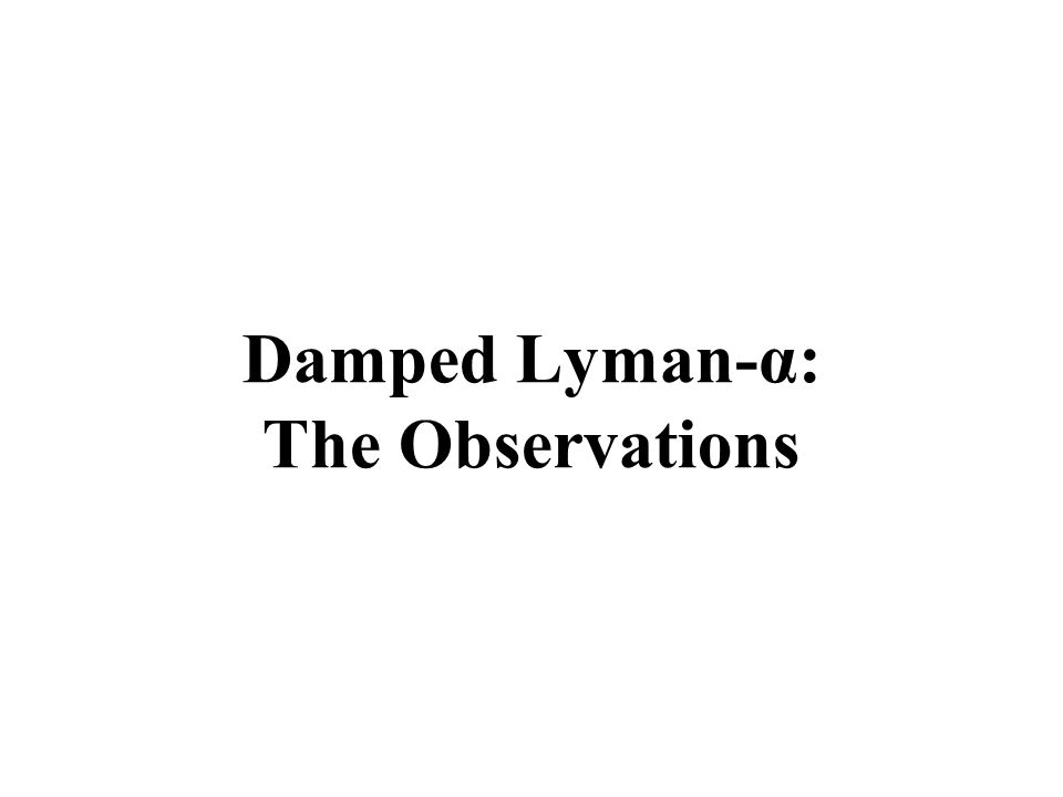 Damped Lyman-α: The Observations