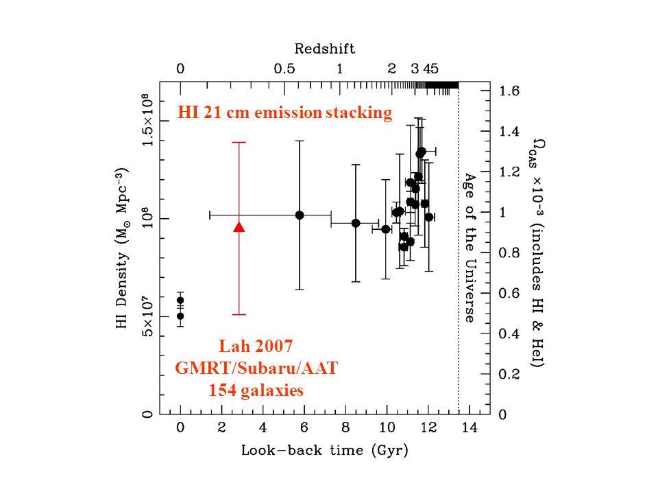 Lah 2007 GMRT/Subaru/AAT 154 galaxies HI 21 cm emission stacking