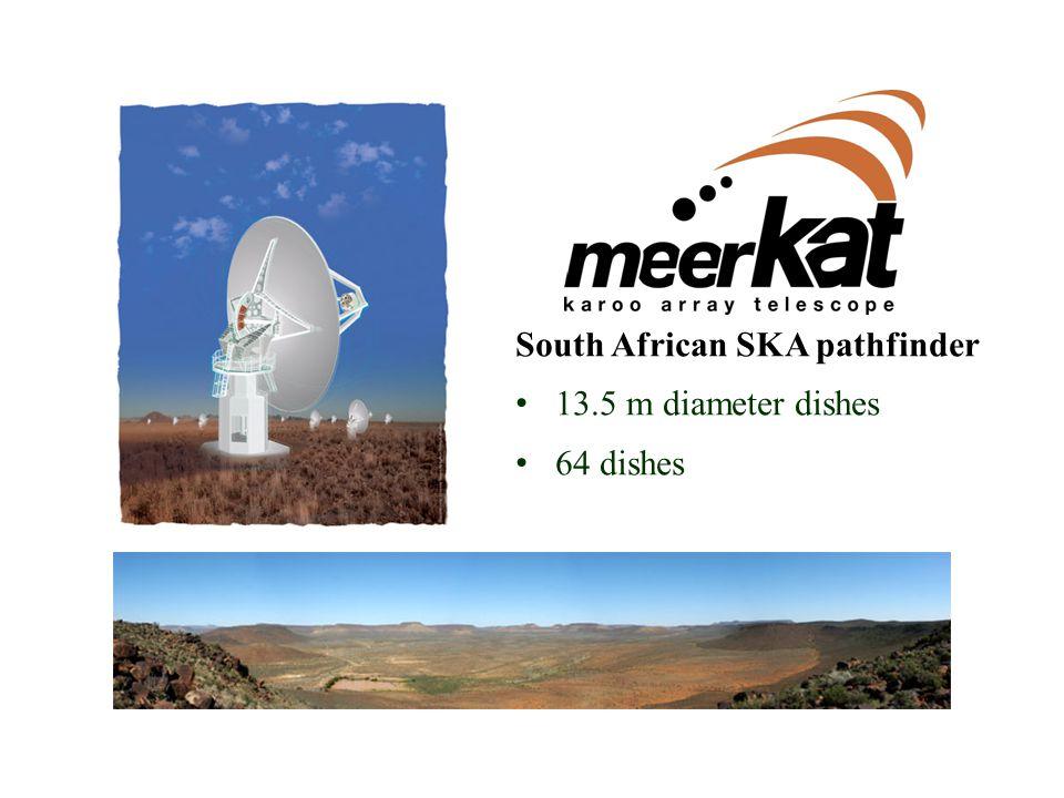 MeerKAT South African SKA pathfinder 13.5 m diameter dishes 64 dishes