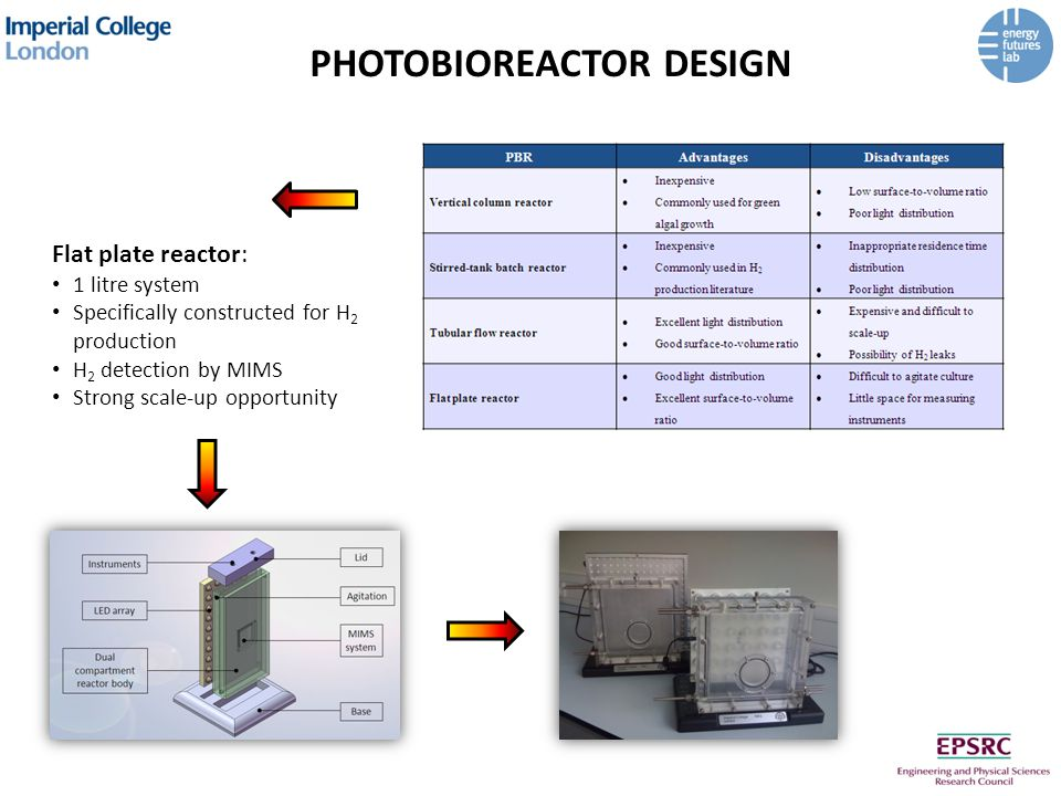 PHOTOBIOREACTOR DESIGN Flat plate reactor: 1 litre system Specifically constructed for H 2 production H 2 detection by MIMS Strong scale-up opportunity
