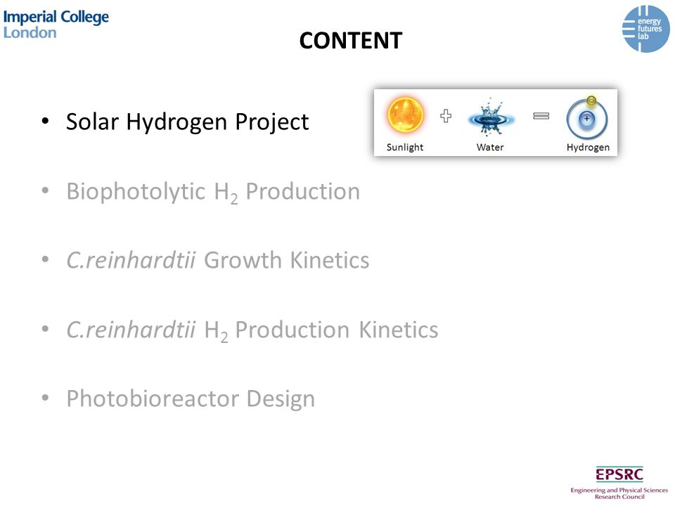 C.REINHARDTII H 2 PRODUCTION KINETICS Stirred-tank batch reactor (centrifugation) 3 distinct phases: –Oxygen consumption –Hydrogen production –Cell death H 2 yield of 5.2±0.3 ml/l Higher initial cell density Brief start-up time Tubular flow reactor (dilution) Continuous measurement of pO2, pH and OD H 2 yield of 3.1±0.3 ml/l Photochemical efficiency of approximately 0.1% Process easier to implement and scale up