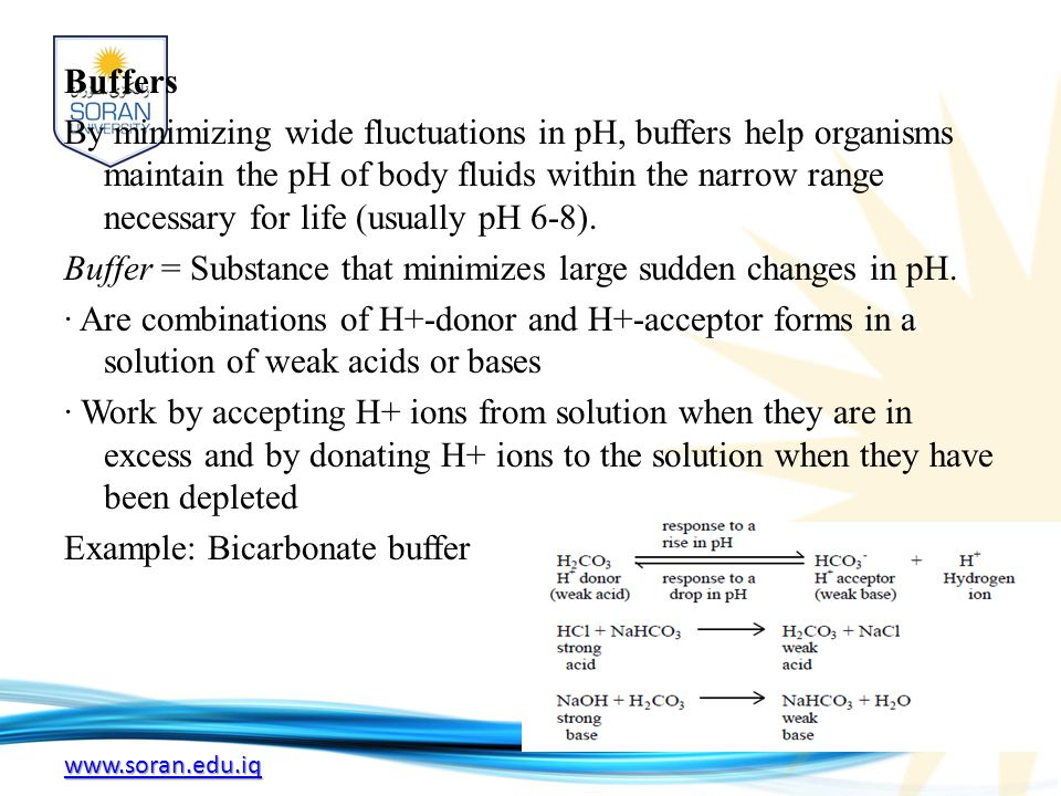 www.soran.edu.iq Buffers By minimizing wide fluctuations in pH, buffers help organisms maintain the pH of body fluids within the narrow range necessary for life (usually pH 6-8).