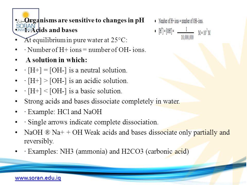 www.soran.edu.iq Organisms are sensitive to changes in pH 1.