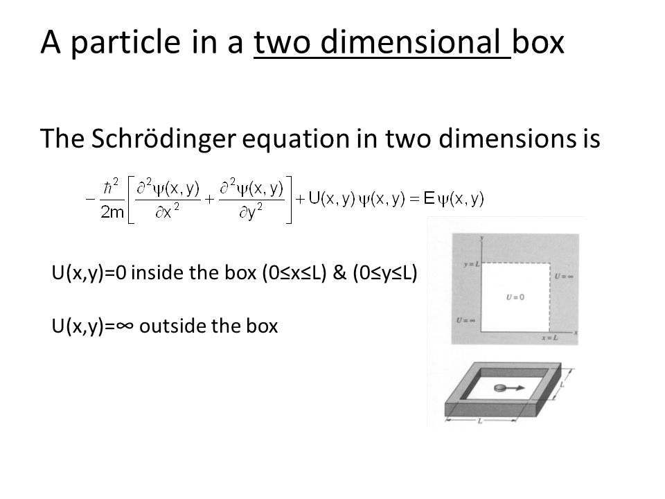 A particle in a two dimensional box The Schrödinger equation in two dimensions is U(x,y)=0 inside the box (0≤x≤L) & (0≤y≤L) U(x,y)=∞ outside the box