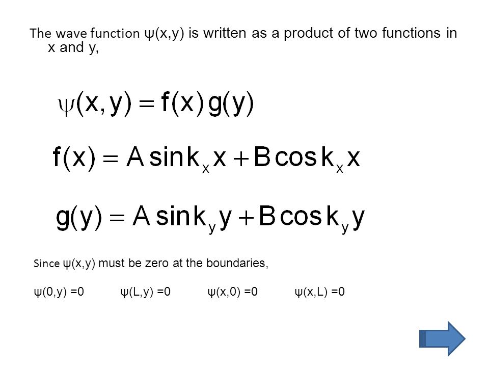 The wave function ψ(x,y) is written as a product of two functions in x and y, Since ψ(x,y) must be zero at the boundaries, ψ(0,y) =0ψ(L,y) =0ψ(x,0) =0