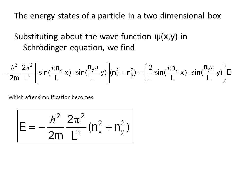 The energy states of a particle in a two dimensional box Substituting about the wave function ψ(x,y) in Schrödinger equation, we find Which after simp