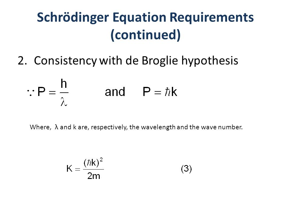 Schrödinger Equation Requirements (continued) 2.Consistency with de Broglie hypothesis Where, λ and k are, respectively, the wavelength and the wave n