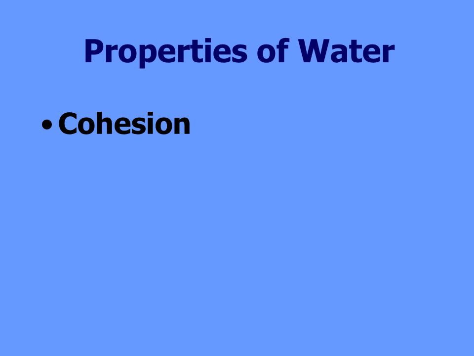 Cohesion Properties of Water