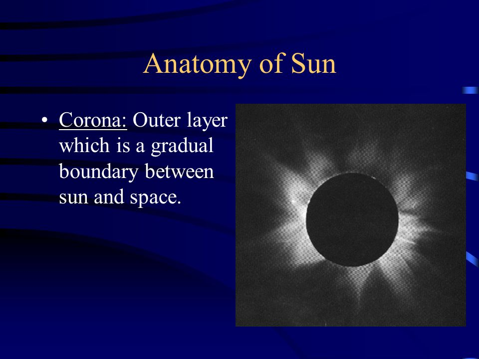 Anatomy of Sun Corona: Outer layer which is a gradual boundary between sun and space.