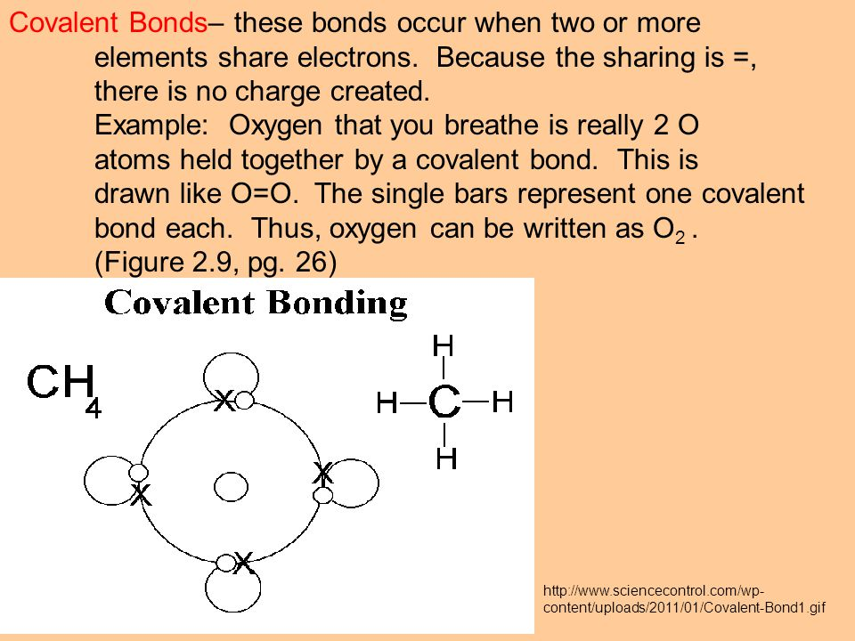 Covalent Bonds– these bonds occur when two or more elements share electrons.