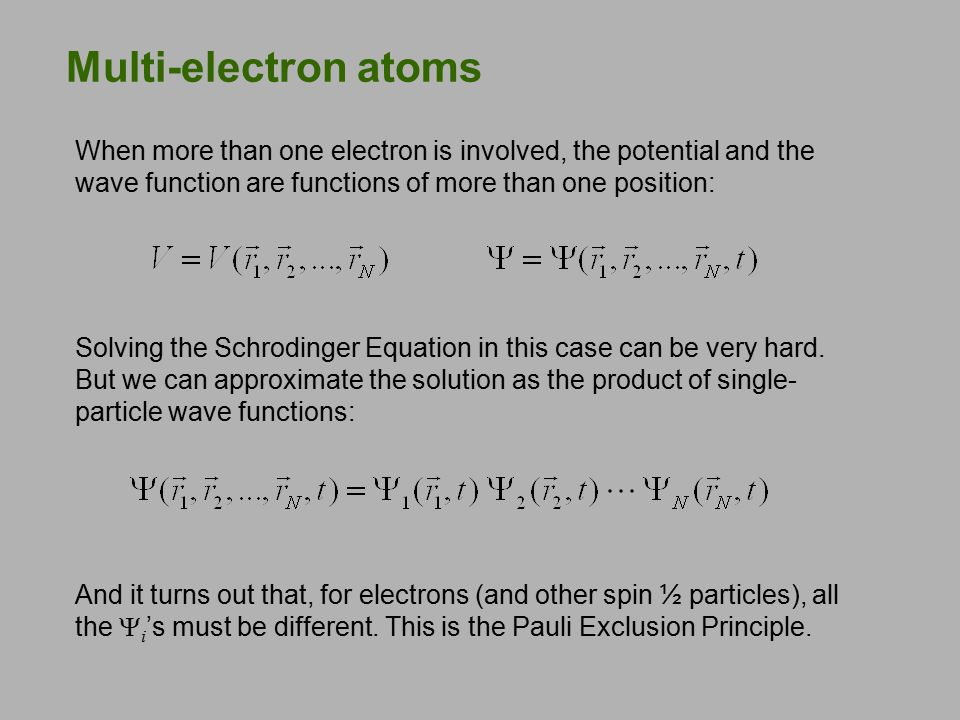 Pauli Exclusion Principle To understand atomic spectroscopic data, Pauli proposed his exclusion principle: No two electrons in an atom may have the same set of quantum numbers (n, ℓ, m ℓ, m s ).