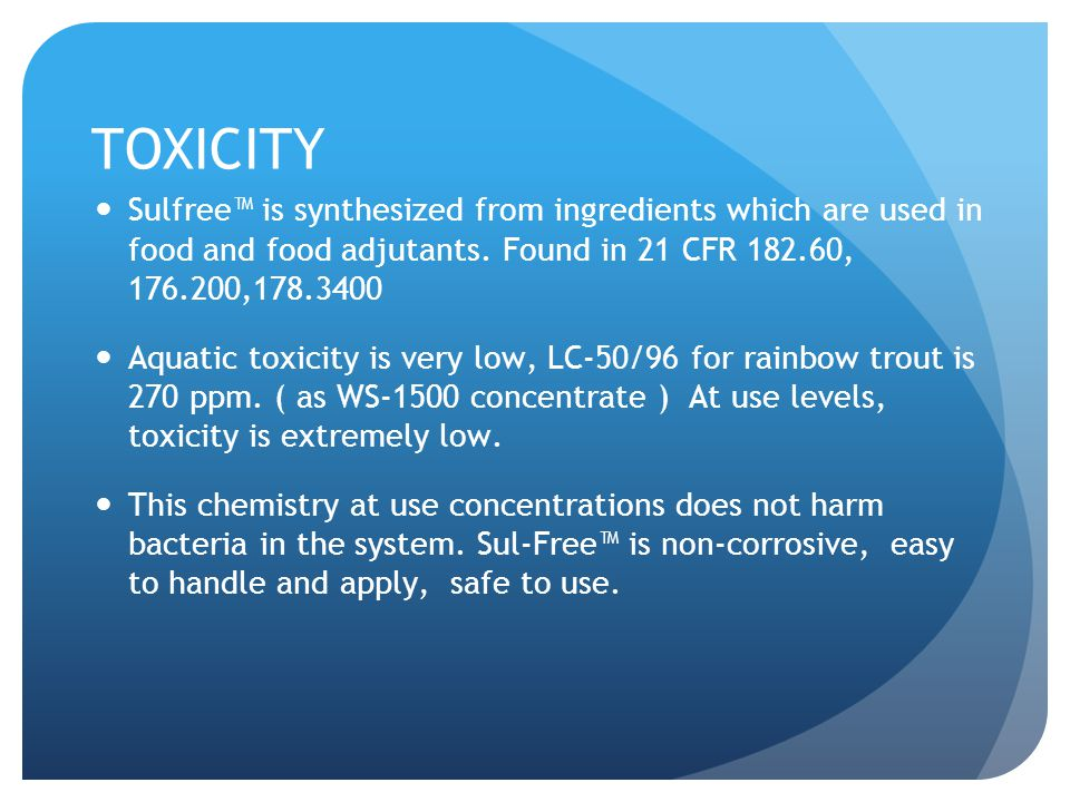 Corrosivity Sul-Free™ solutions are isotonic with the pH of concrete.