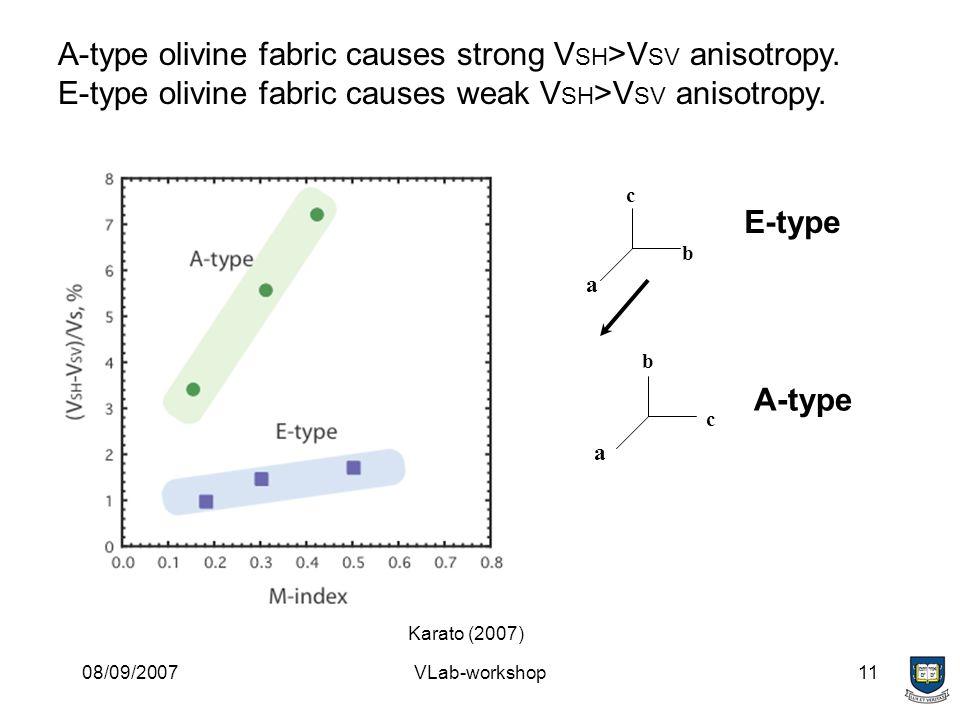08/09/2007VLab-workshop11 E-type A-type a a b b c c A-type olivine fabric causes strong V SH >V SV anisotropy.