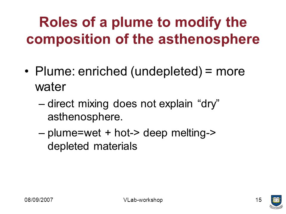 08/09/2007VLab-workshop15 Roles of a plume to modify the composition of the asthenosphere Plume: enriched (undepleted) = more water –direct mixing does not explain dry asthenosphere.
