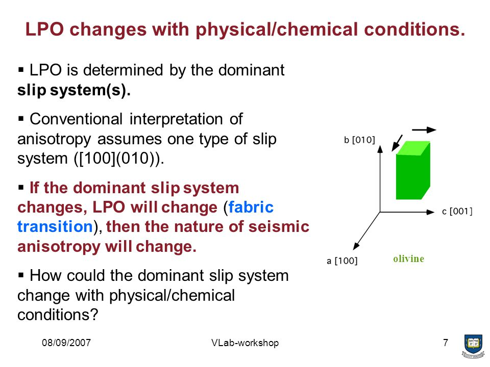 08/09/2007VLab-workshop8 LPO is controlled by the relative strength of slip systems.