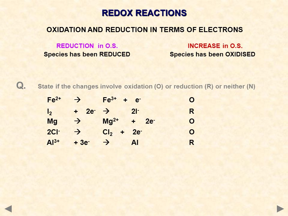 REDOX REACTIONS REDUCTION in O.S. INCREASE in O.S.
