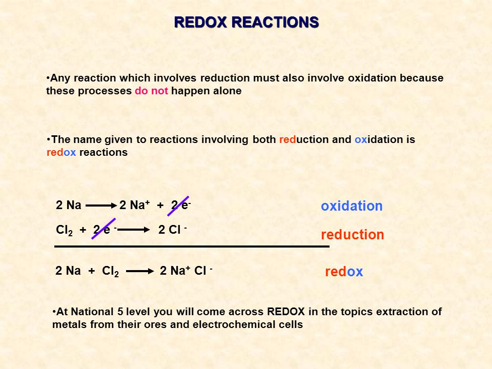 REDOX REACTIONS Any reaction which involves reduction must also involve oxidation because these processes do not happen alone The name given to reactions involving both reduction and oxidation is redox reactions 2 Na 2 Na + + 2 e - Cl 2 + 2 e - 2 Cl - oxidation reduction redox 2 Na + Cl 2 2 Na + Cl - At National 5 level you will come across REDOX in the topics extraction of metals from their ores and electrochemical cells