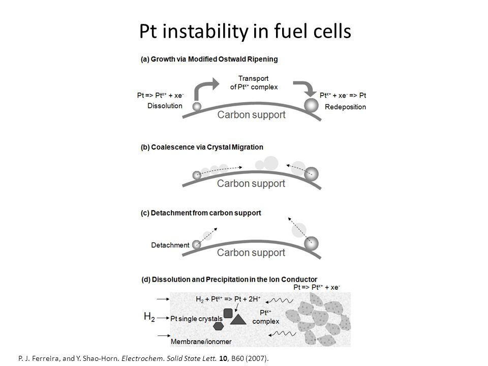 Pt instability in fuel cells P. J. Ferreira, and Y. Shao-Horn. Electrochem. Solid State Lett. 10, B60 (2007).
