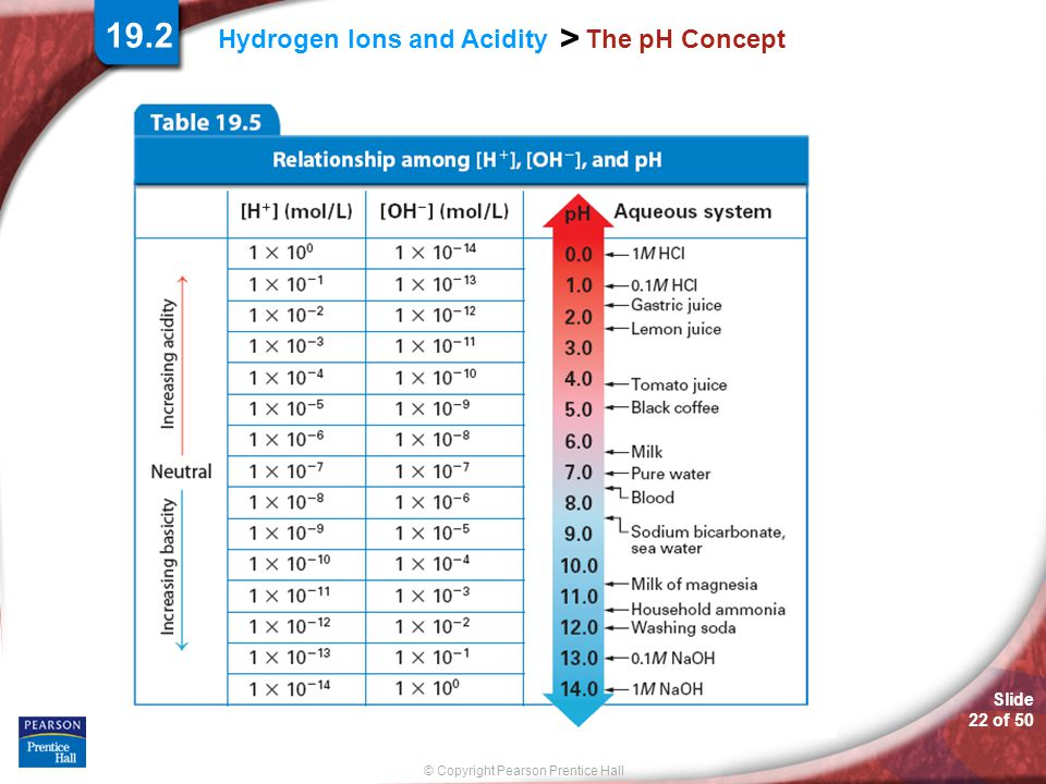Slide 22 of 50 © Copyright Pearson Prentice Hall > Hydrogen Ions and Acidity The pH Concept 19.2