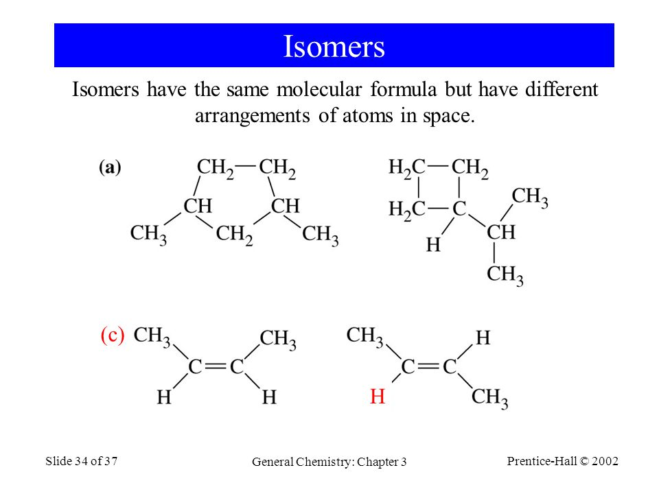 Prentice-Hall © 2002 General Chemistry: Chapter 3 Slide 34 of 37 Isomers Isomers have the same molecular formula but have different arrangements of atoms in space.