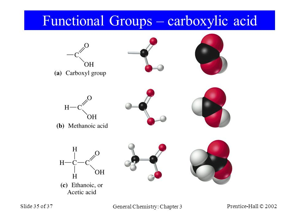 Prentice-Hall © 2002 General Chemistry: Chapter 3 Slide 35 of 37 Functional Groups – carboxylic acid