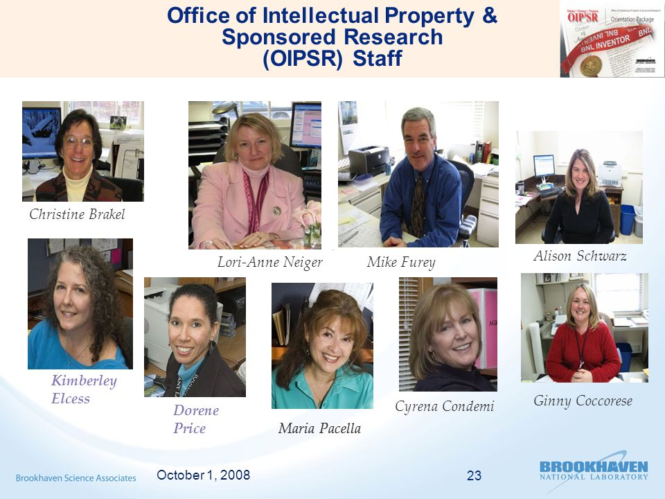 October 1, 2008 23 Office of Intellectual Property & Sponsored Research (OIPSR) Staff Maria Pacella Dorene Price Christine Brakel Lori-Anne Neiger Maria Pacella Cyrena Condemi Kimberley Elcess Mike Furey Alison Schwarz Ginny Coccorese