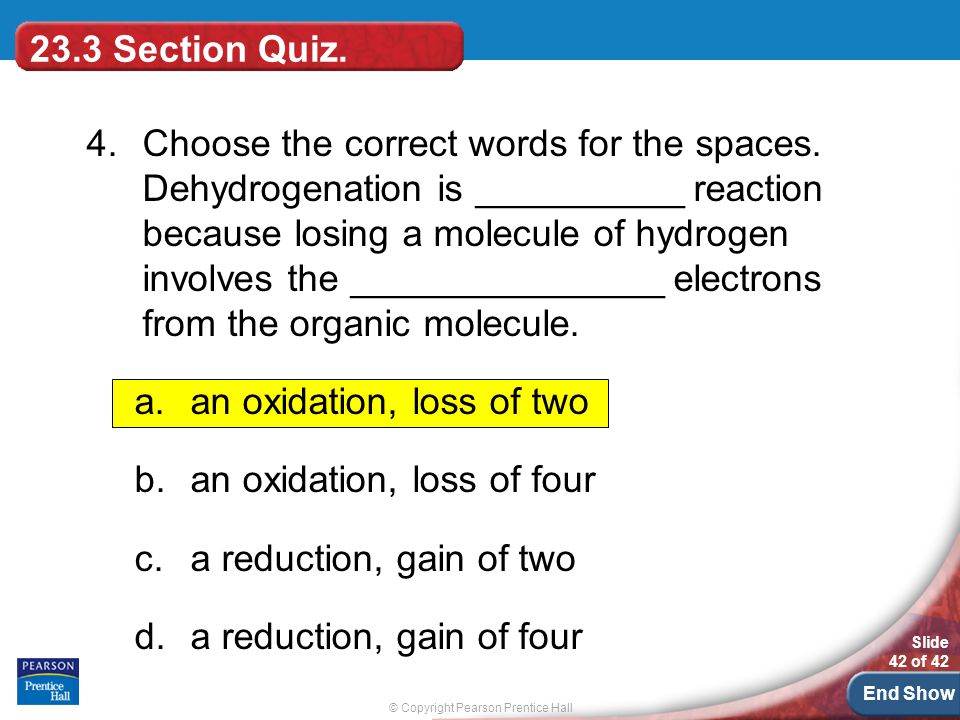 © Copyright Pearson Prentice Hall Slide 42 of 42 End Show 23.3 Section Quiz.