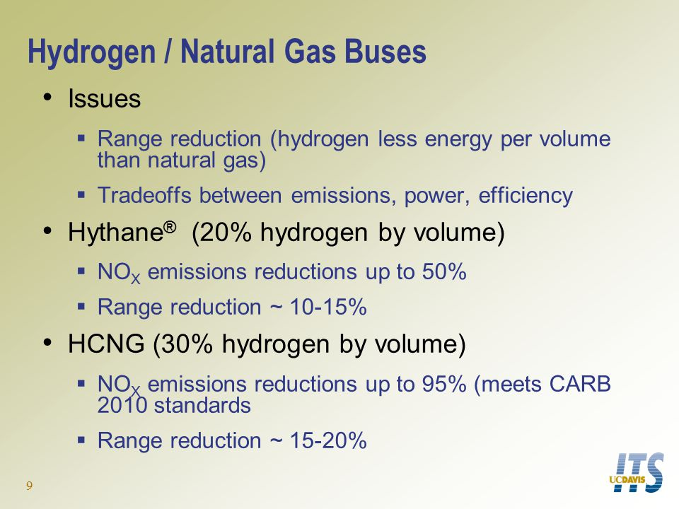 9 Hydrogen / Natural Gas Buses Issues  Range reduction (hydrogen less energy per volume than natural gas)  Tradeoffs between emissions, power, efficiency Hythane ® (20% hydrogen by volume)  NO X emissions reductions up to 50%  Range reduction ~ 10-15% HCNG (30% hydrogen by volume)  NO X emissions reductions up to 95% (meets CARB 2010 standards  Range reduction ~ 15-20%