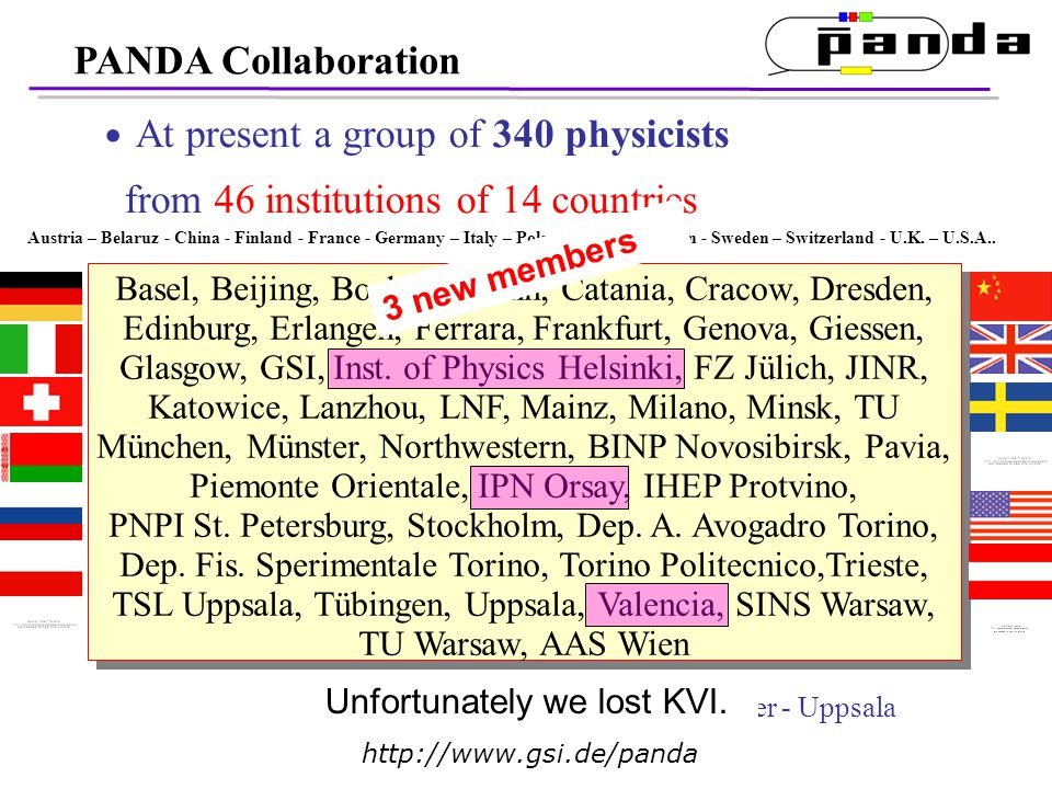 PANDA Collaboration At present a group of 340 physicists from 46 institutions of 14 countries Basel, Beijing, Bochum, Bonn, Catania, Cracow, Dresden, Edinburg, Erlangen, Ferrara, Frankfurt, Genova, Giessen, Glasgow, GSI, Inst.