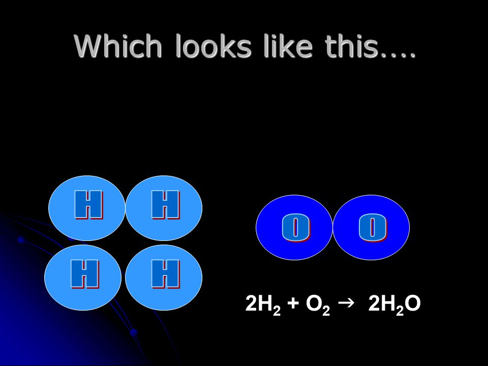 Which looks like this …. 2H 2 + O 2  2H 2 O