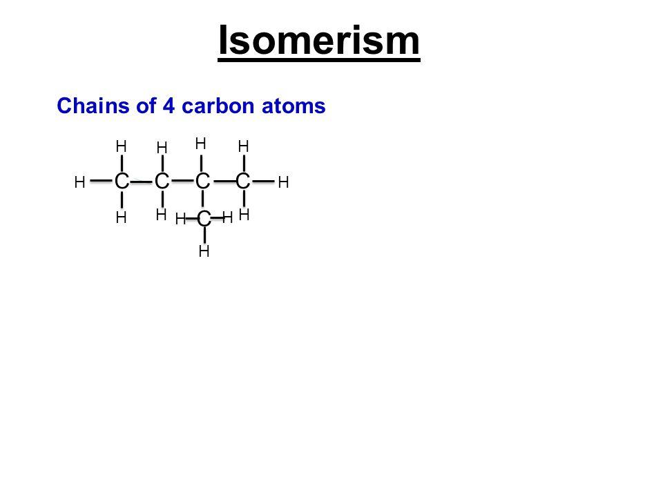 Isomerism Chains of 4 carbon atoms C C H H H H C H H H H H H H H