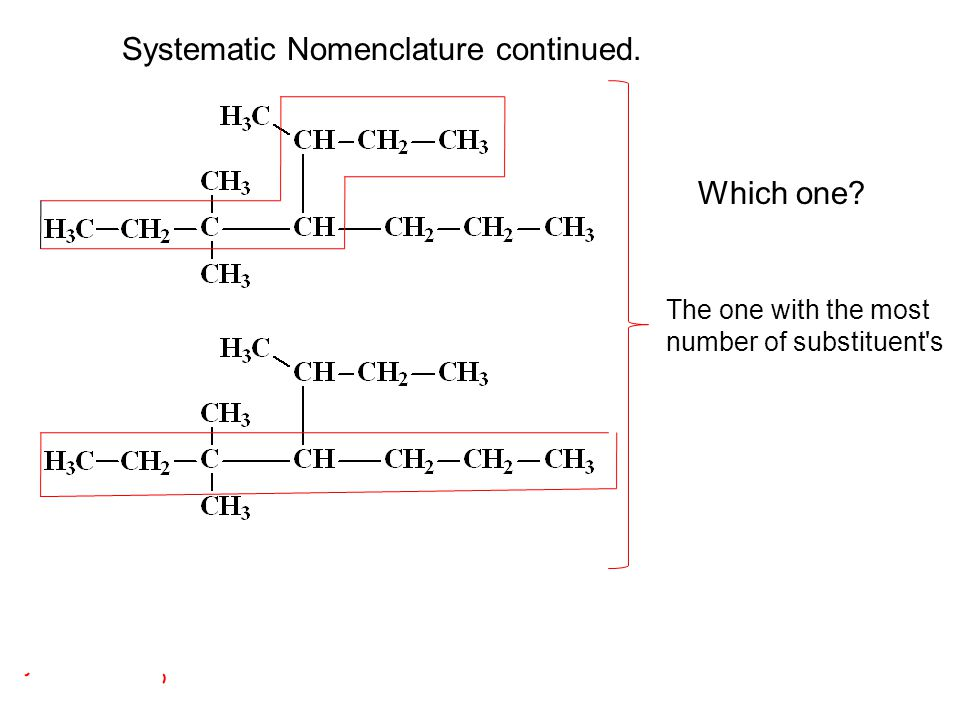 Which one? Systematic Nomenclature continued. The one with the most number of substituent's