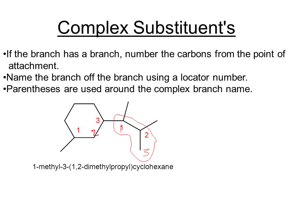 Complex Substituent s If the branch has a branch, number the carbons from the point of attachment.